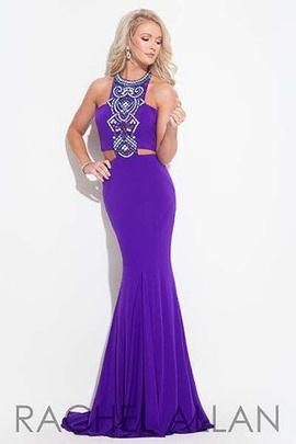 Rachel Allan Purple Size 4 Turquoise Halter Rachel Allen Mermaid Dress on Queenly