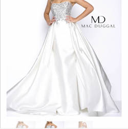 Mac Duggal White Size 6 Sequin Prom Overskirt Train Dress on Queenly