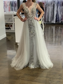 Queenly size 6  Silver Ball gown evening gown/formal dress