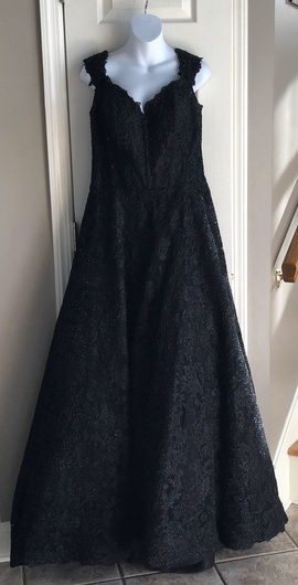 Queenly size 18 Sherri Hill Black A-line evening gown/formal dress