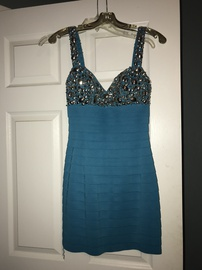 Sherri Hill Blue Size 2 Mini Sorority Formal Cocktail Dress on Queenly