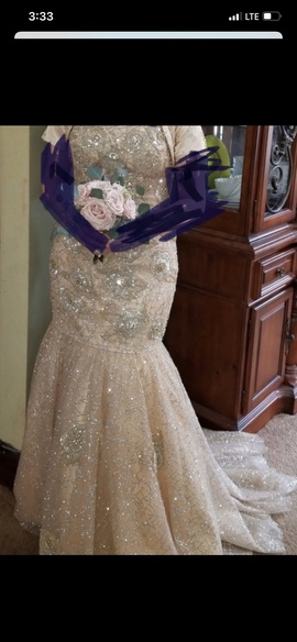 Queenly size 12 Jovani Gold A-line evening gown/formal dress