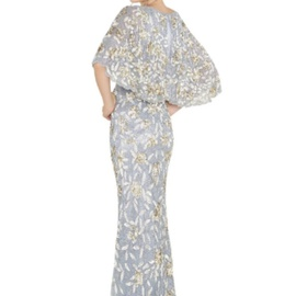Mac Duggal Multicolor Size 6 Sequin Cape Wedding V Neck Straight Dress on Queenly