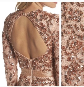 Mac Duggal Rose Gold Size 4 Jewelled Sequin Straight Dress on Queenly
