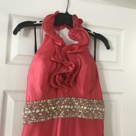Primadonna Collection Pink Size 12 Halter Plus Size Train Dress on Queenly