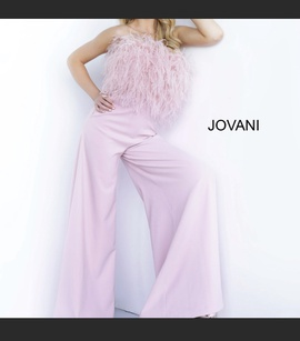 Jovani Pink Size 8 Feather Jumpsuit Romper/Jumpsuit Dress on Queenly