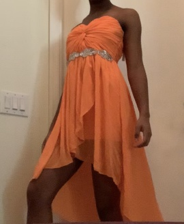 Queenly size 4  Orange Straight evening gown/formal dress