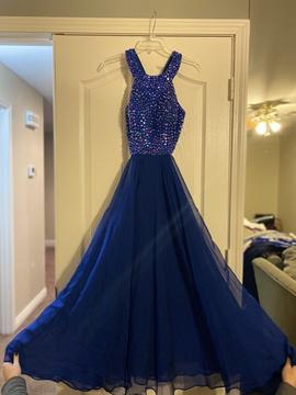 Sherri Hill Blue Size 0 Short Height Halter Straight Dress on Queenly