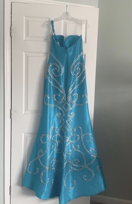 Jovani Blue Size 6 Train Mermaid Dress on Queenly