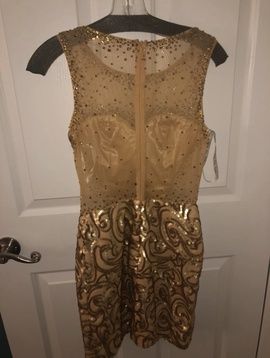 Party Time Formals Gold Size 4 Sheer Cocktail Dress on Queenly