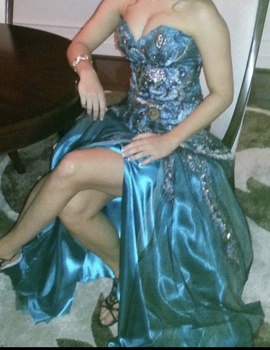 Mac Duggal Blue Size 4 Jewelled Side Slit Strapless Sequin Straight Dress on Queenly