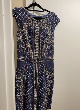 Jovani Blue Size 8 Cocktail Dress on Queenly
