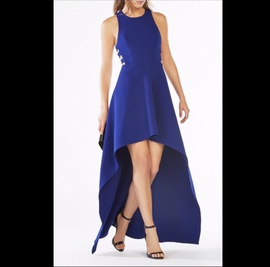 BCBG Blue Size 4 High Low Cut Out A-line Dress on Queenly