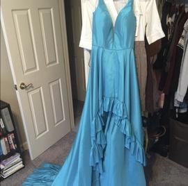 Sherri Hill Blue Size 4 Ruffles A-line Dress on Queenly