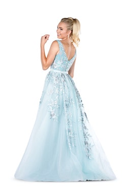 Vienna Blue Size 16 Prom Plus Size A-line Dress on Queenly