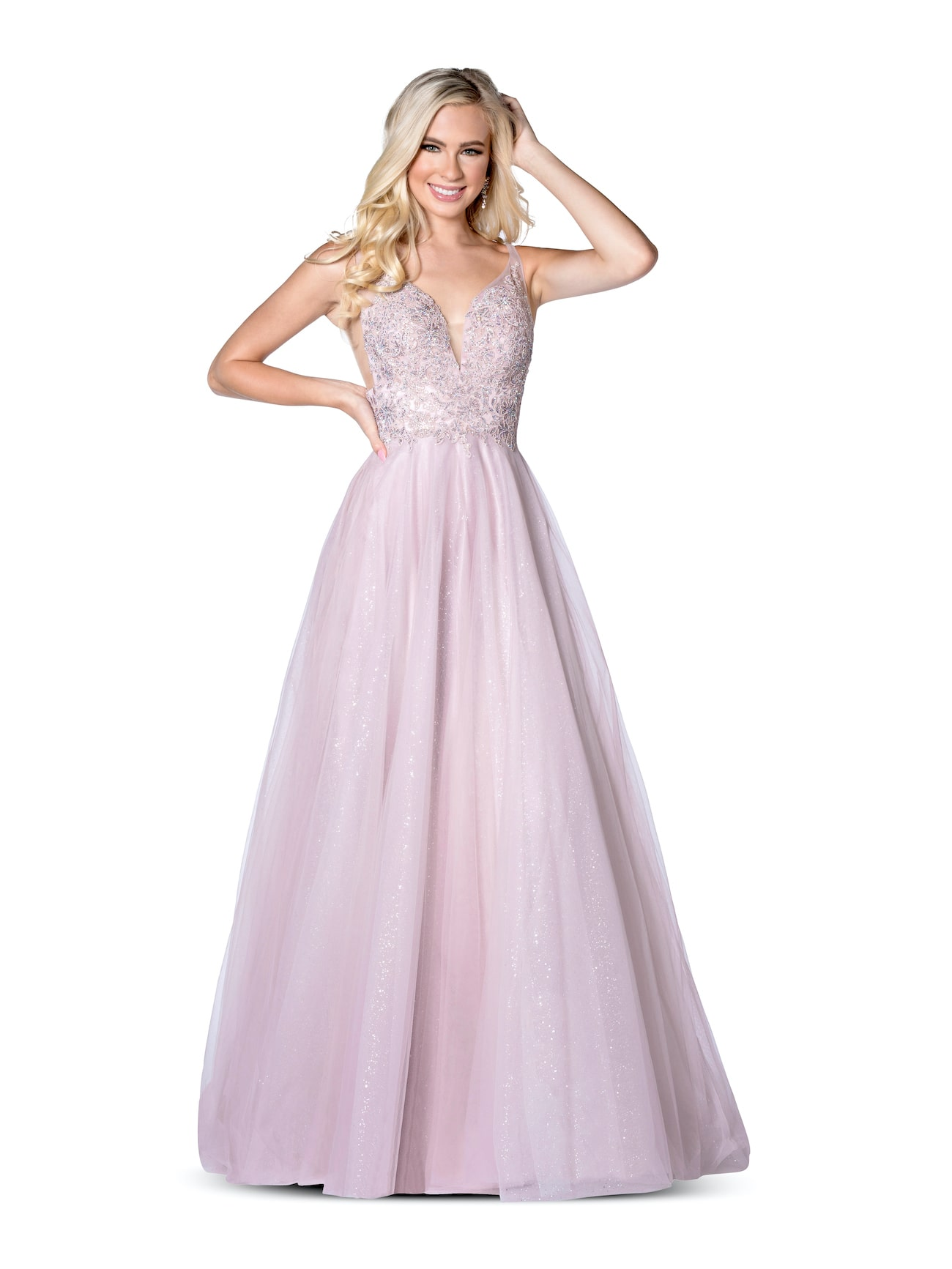 Queenly size 00 Vienna Pink A-line evening gown/formal dress
