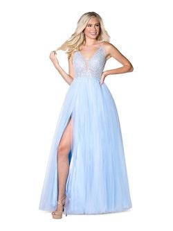 Queenly size 14 Vienna Blue Side slit evening gown/formal dress