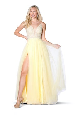 Vienna Yellow Size 10 A-line Lace Side slit Dress on Queenly