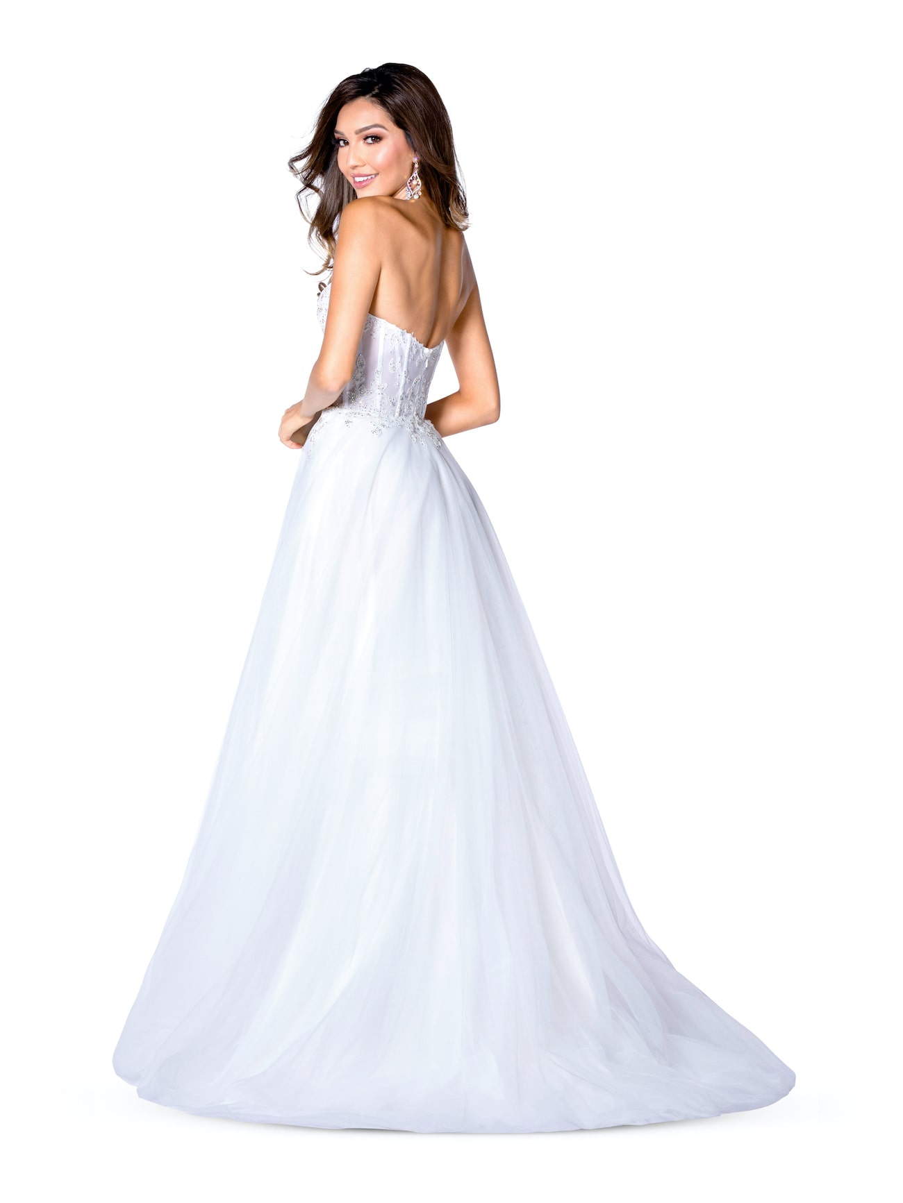 Vienna White Size 8 Wedding Backless A-line Dress on Queenly
