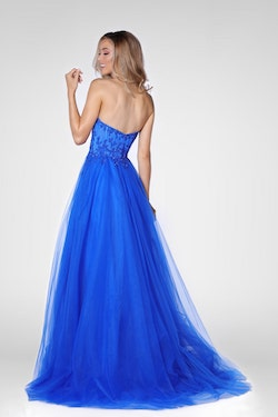 Vienna Blue Size 10 Lace Backless A-line Dress on Queenly