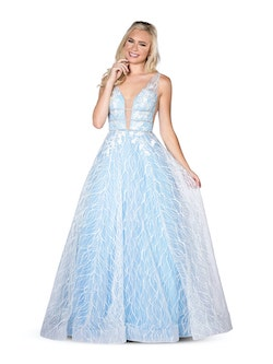 Vienna Light Blue Size 12 Backless Ball gown on Queenly
