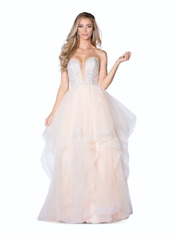 Vienna Nude Size 14 Tall Height Plunge Backless Ball gown on Queenly