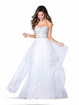 Style 7858 Vienna White Size 8 Ruffles Sweetheart Backless A-line Dress on Queenly