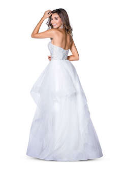Style 7858 Vienna Blue Size 2 Ruffles Sweetheart Backless A-line Dress on Queenly