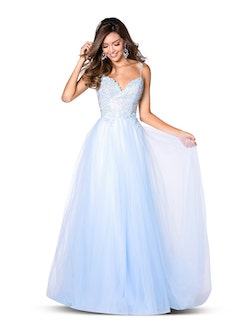 Vienna Blue Size 6 Sweetheart Backless A-line Dress on Queenly