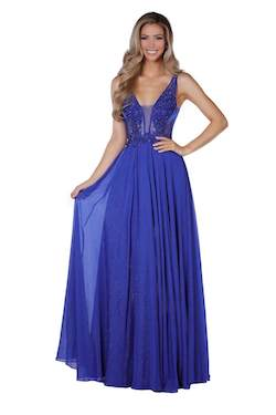 Vienna Blue Size 4 Plunge Backless A-line Dress on Queenly