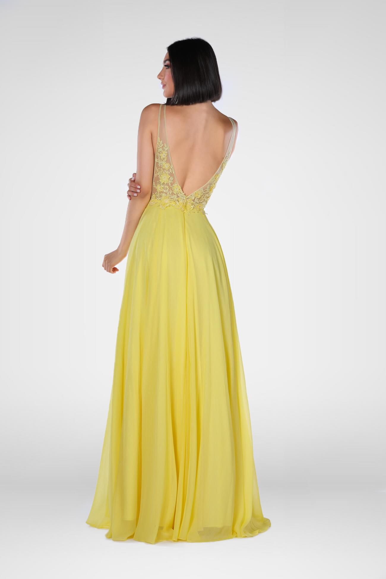 Vienna Yellow Size 2 Plunge Backless A-line Dress on Queenly