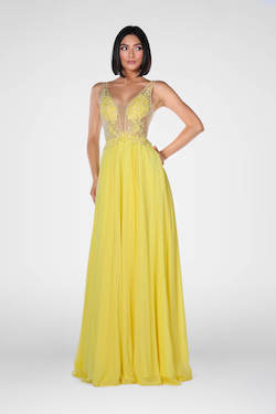 Style 7908 Vienna Yellow Size 6 Plunge Backless A-line Dress on Queenly