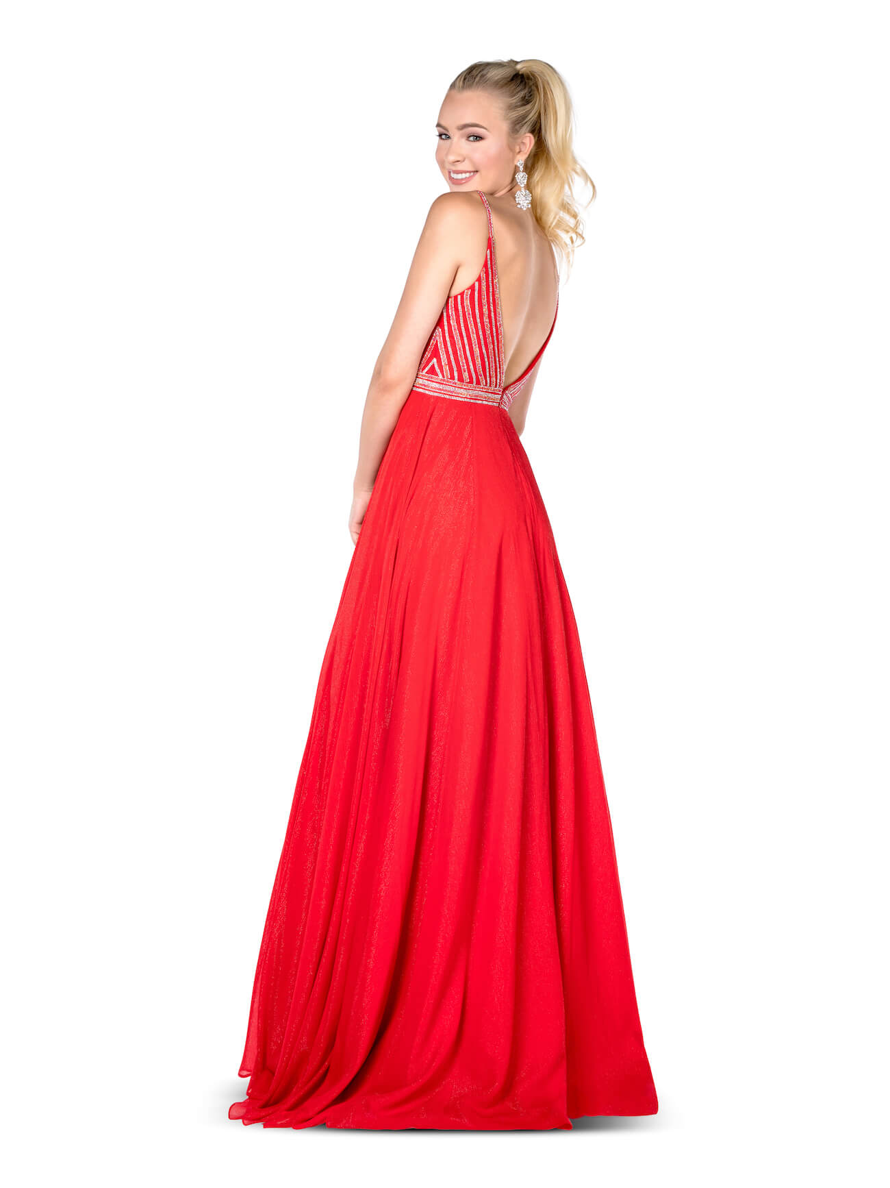 Vienna Red Size 00 Backless A-line Dress on Queenly