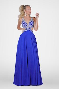 Queenly size 4 Vienna Blue A-line evening gown/formal dress
