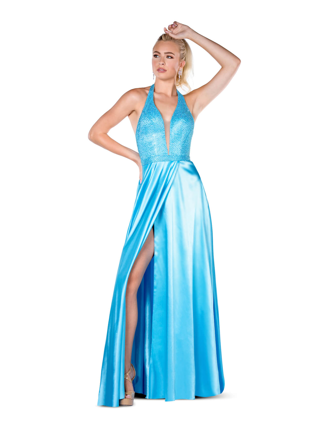 Vienna Blue Size 6 A-line Turquoise Backless Side slit Dress on Queenly