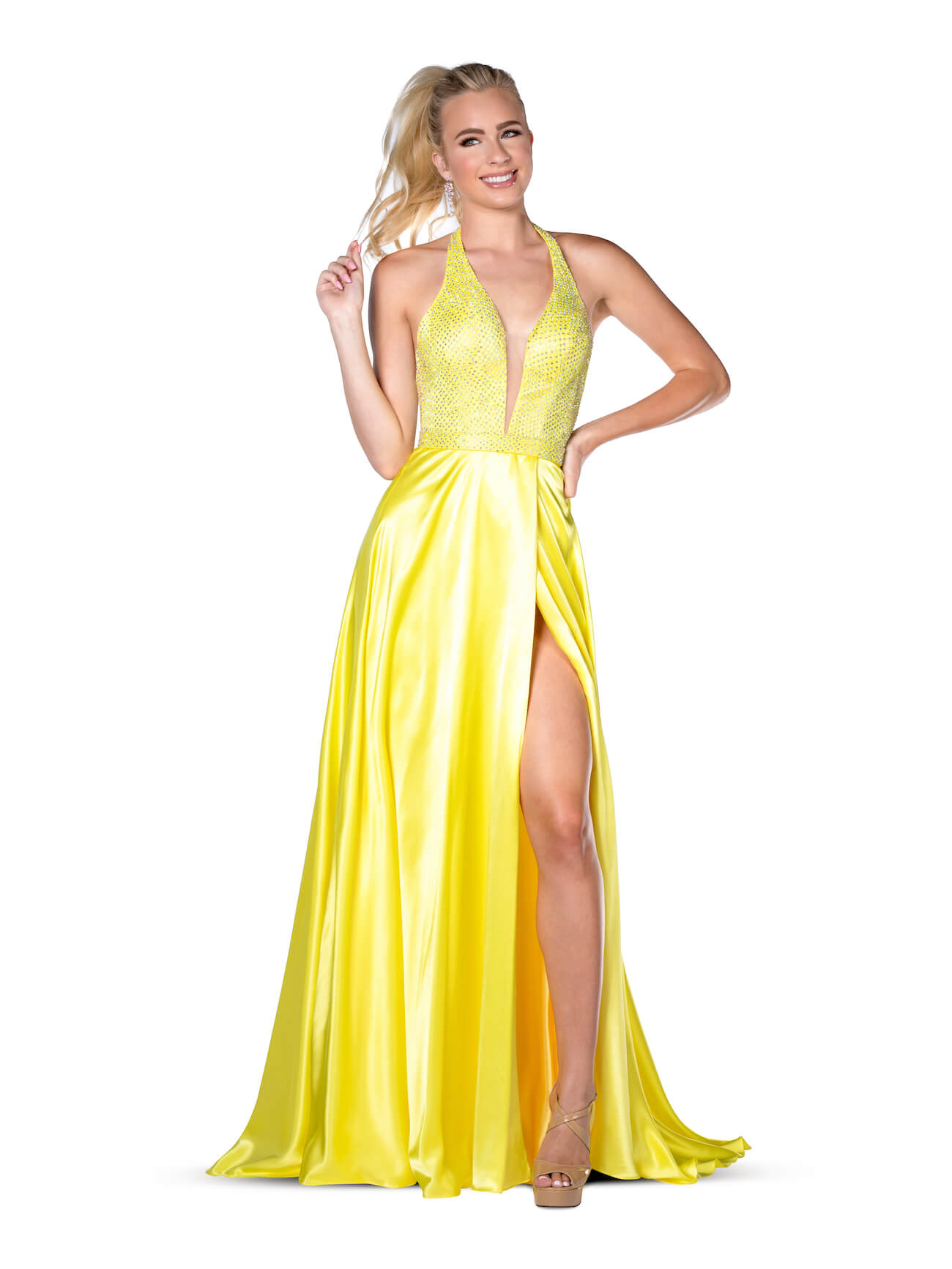 Queenly size 6 Vienna Yellow Side slit evening gown/formal dress
