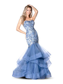 Vienna Light Blue Size 10 Ruffles Mermaid Dress on Queenly