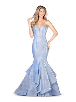 Vienna Light Blue Size 12 Sweetheart Backless Mermaid Dress on Queenly
