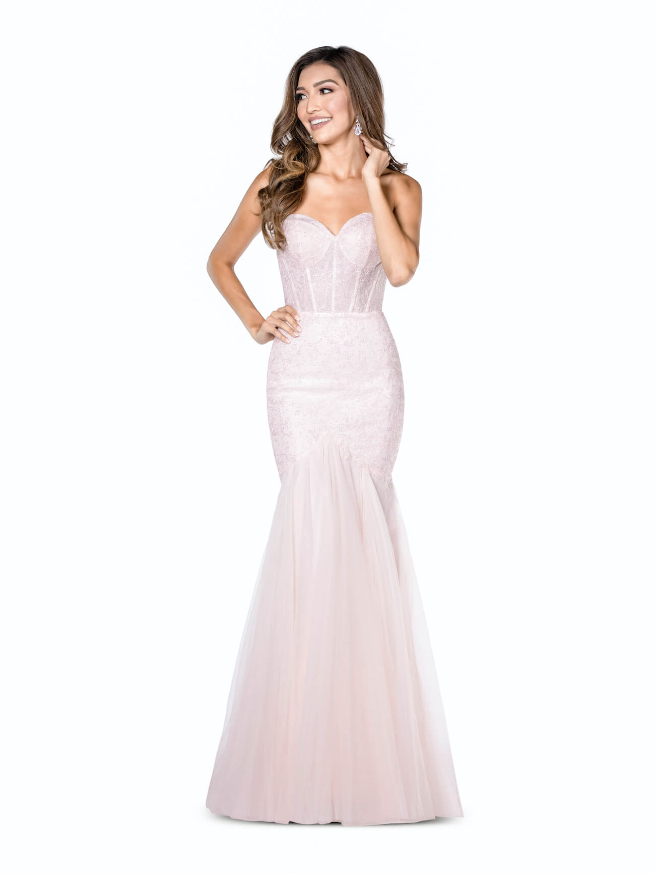 Vienna Light Pink Size 8 Corset Strapless Mermaid Dress on Queenly