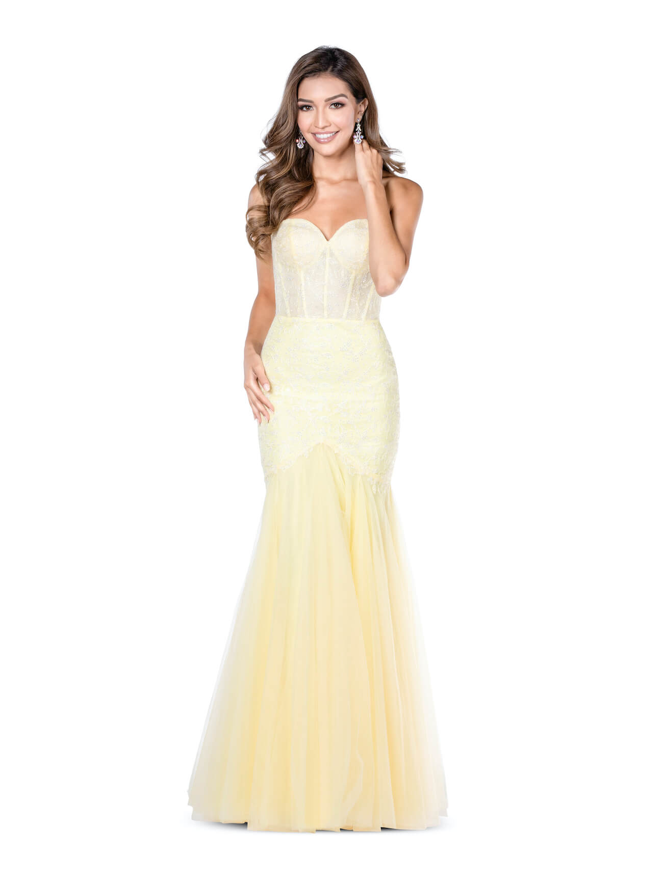 Vienna Yellow Size 10 Corset Sweetheart Mermaid Dress on Queenly