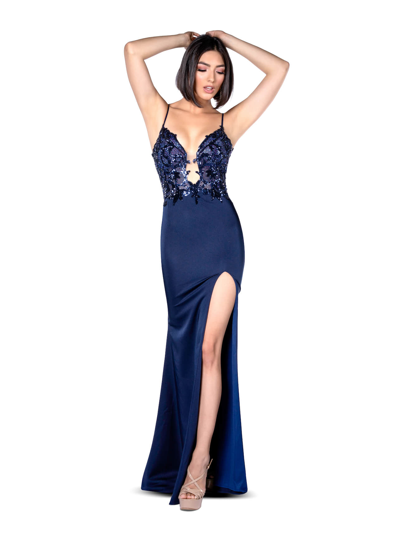 Vienna Blue Size 6 Plunge Navy Backless Side slit Dress on Queenly