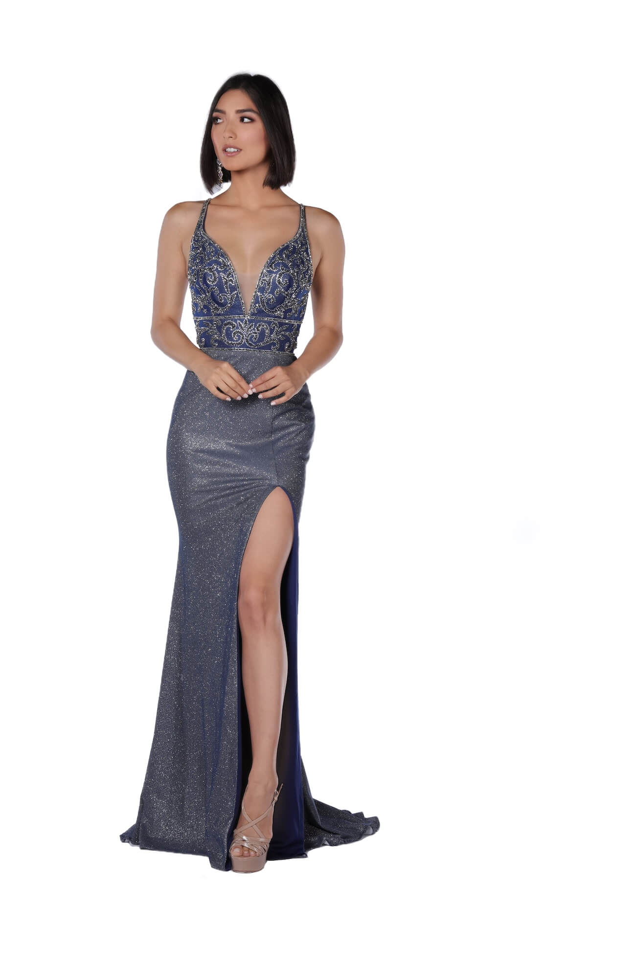Vienna Blue Size 12 Plunge Navy Backless Side slit Dress on Queenly