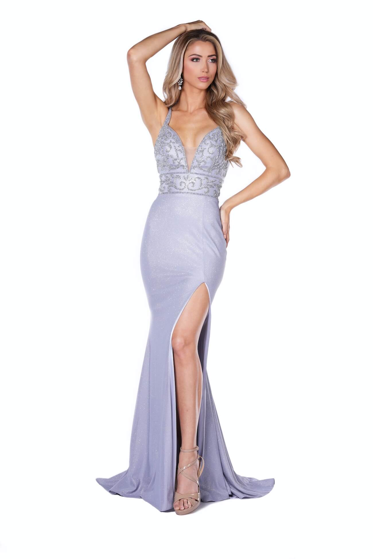 Vienna Silver Size 8 Plunge Backless Side slit Dress on Queenly