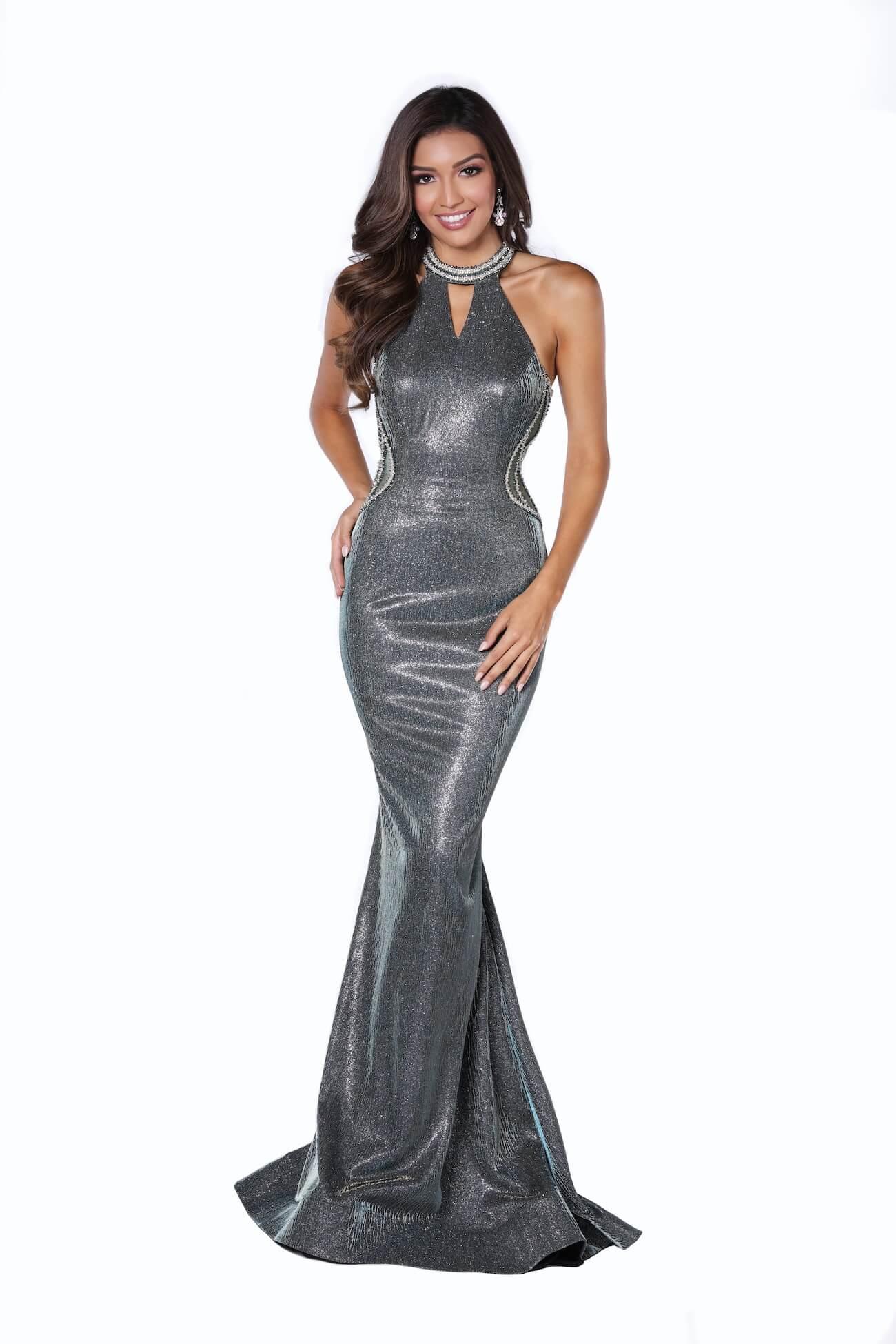 Queenly size 10 Vienna Silver Mermaid evening gown/formal dress