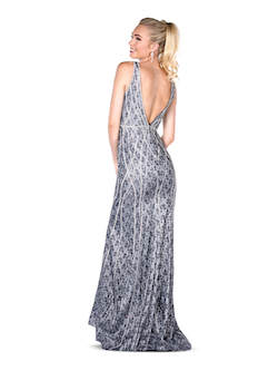Vienna Silver Size 2 Pattern Grey Backless Straight Dress on Queenly