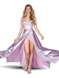 Queenly size 0 Vienna Pink Romper/Jumpsuit evening gown/formal dress