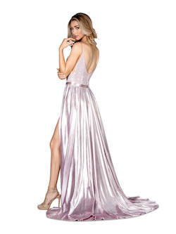 Style 8614 Vienna Silver Size 6 Jumpsuit Overskirt Plunge Romper/Jumpsuit Dress on Queenly