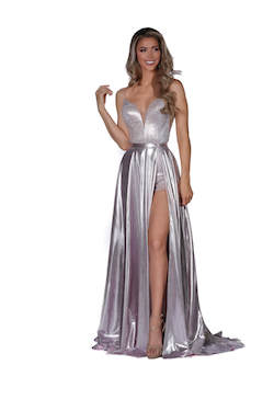 Vienna Silver Size 8 Jumpsuit Overskirt Plunge Romper/Jumpsuit Dress on Queenly