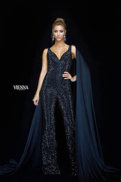 Vienna Black Size 0 Pattern Backless Romper/Jumpsuit Dress on Queenly