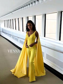 Queenly size 2 Vienna Yellow Romper/Jumpsuit evening gown/formal dress